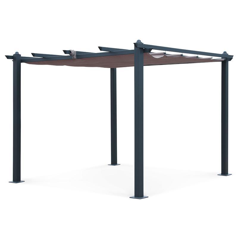 tente de jardin pergola aluminium 3x3m condate taupe. Black Bedroom Furniture Sets. Home Design Ideas