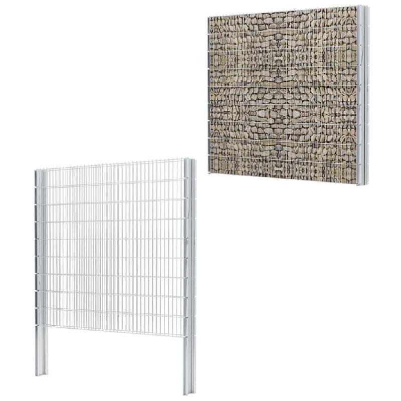 Vidaxl clôture gabion 2d acier galvanisé 2,008x1,83m 14m total argenté