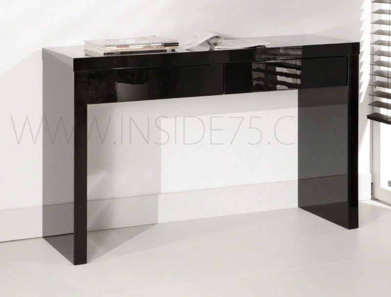 Black Console Design Laquee Noir Brillant 2 Tiroirs