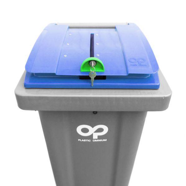 Conteneur poubelle pour papiers confidentiels - 240 litres corps gris / couvercle bleu
