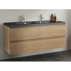 Meuble 120 Cm 2 Vasques Table Noire Miroir Bois Massif Lignum