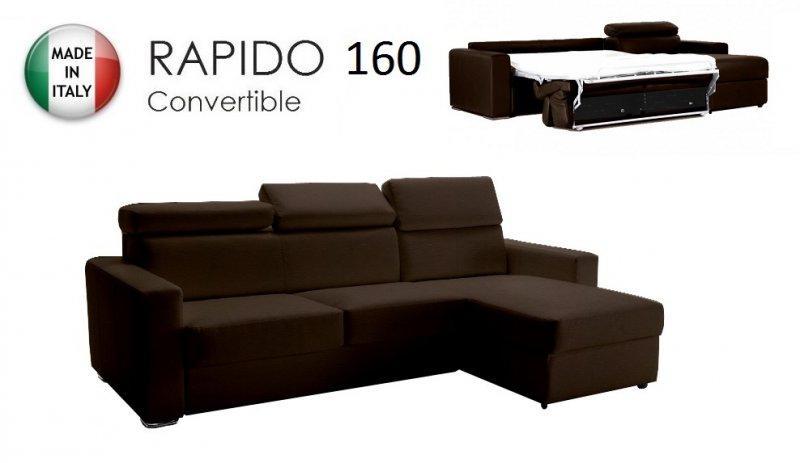 canape d 39 angle reversible rapido sidney 160 cm coffre tetieres reglables cuir eco marron. Black Bedroom Furniture Sets. Home Design Ideas