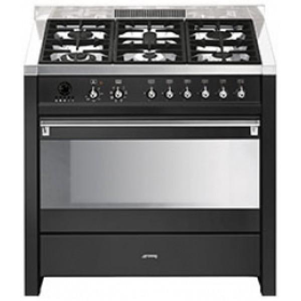 Smeg cuisiniere gaz centre de cuisson 90cm opera cs19a 7 cs 19 a 7 anthra - Gaziniere smeg 5 feux ...