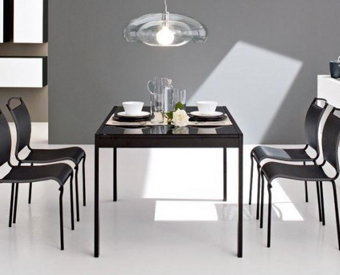 Calligaris table repas extensible key 130x89 plateau verre for Table extensible calligaris