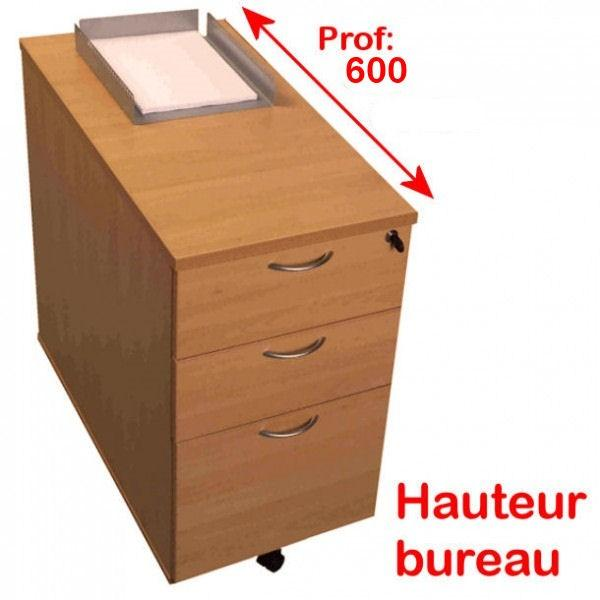 caissons en bois hauteur bureau teo 3 tiroirs p600mm. Black Bedroom Furniture Sets. Home Design Ideas