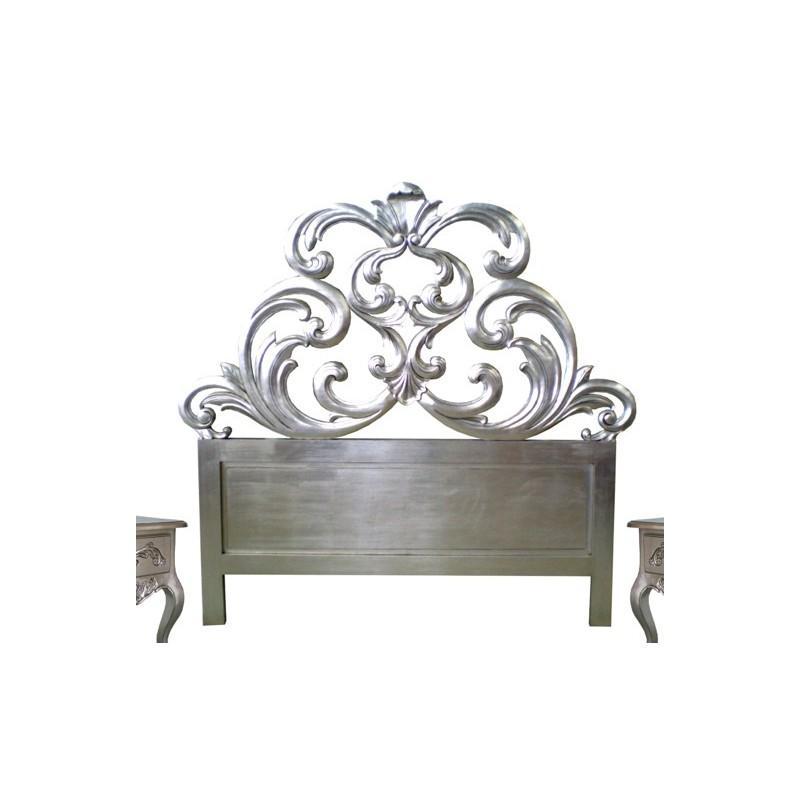 t te de lit 160 cm sculpt e bois argent granada. Black Bedroom Furniture Sets. Home Design Ideas