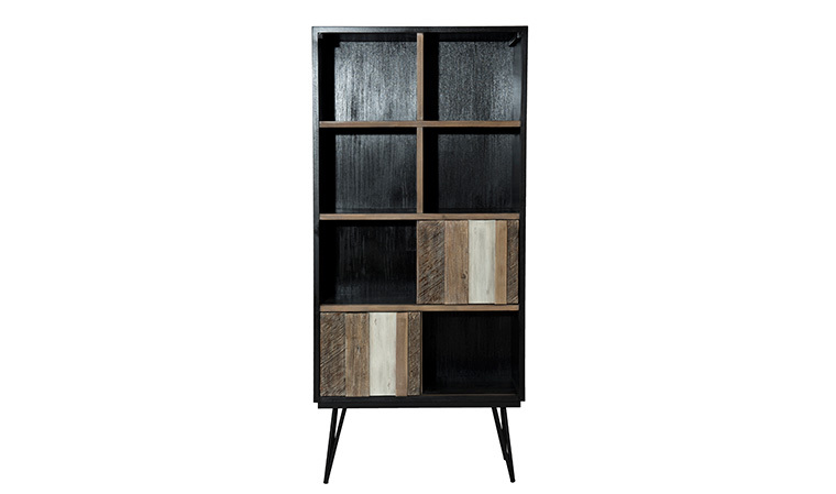 Meuble bibliotheque design scandinave en bois et metal marin for Meuble bibliotheque design