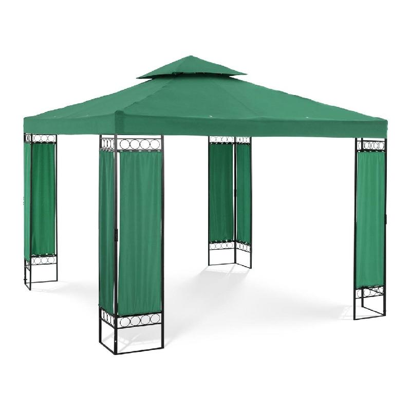 Pergola pavillon barnum tonnelle tente abri gazebo de jardin terrasse vert - 3 x 3 m - 160 g/m² 14_0002771
