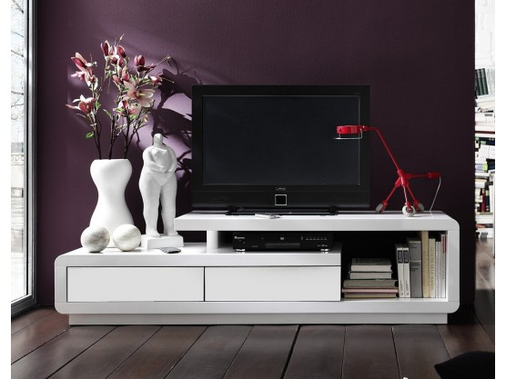 meuble tv design alice laque blanc blanc 170 cm. Black Bedroom Furniture Sets. Home Design Ideas