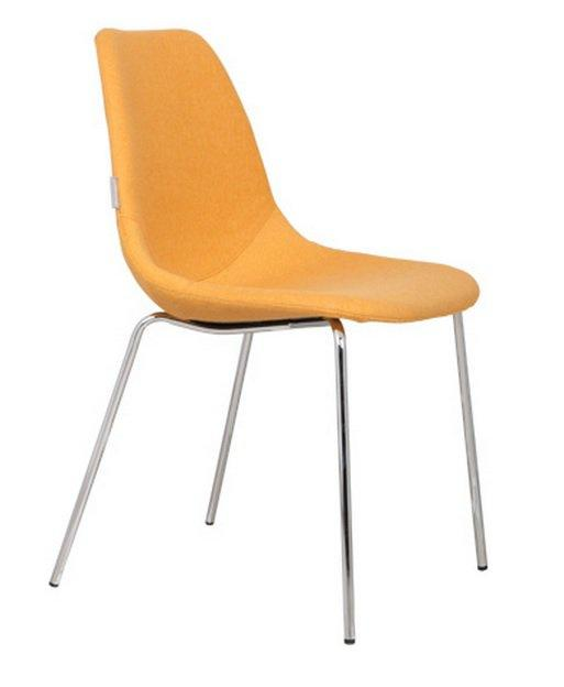 Chaise zuiver fifteen jaune avec pieds chrome for Chaise zuiver