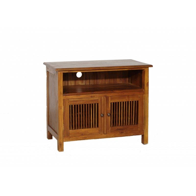 meuble tv 2 tiroirs persiennes colonial en teck massif. Black Bedroom Furniture Sets. Home Design Ideas