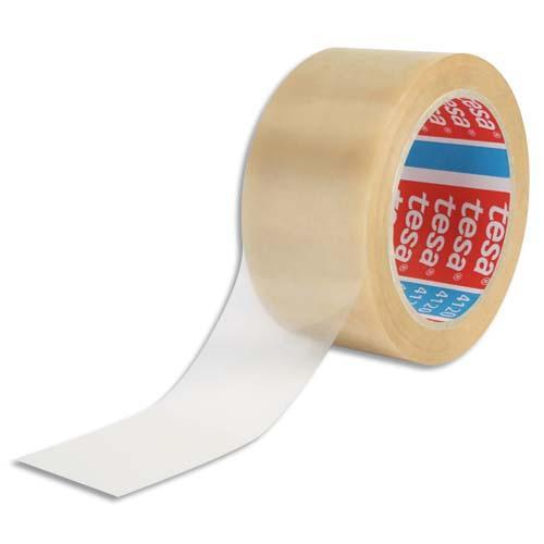 RUBAN ADHÉSIF D'EMBALLAGE TESA PVC COLLE CAOUTCHOUC 52 MICRONS - DIMENSIONS : H50 MM X L66 MÈTRES TRANSPARENT