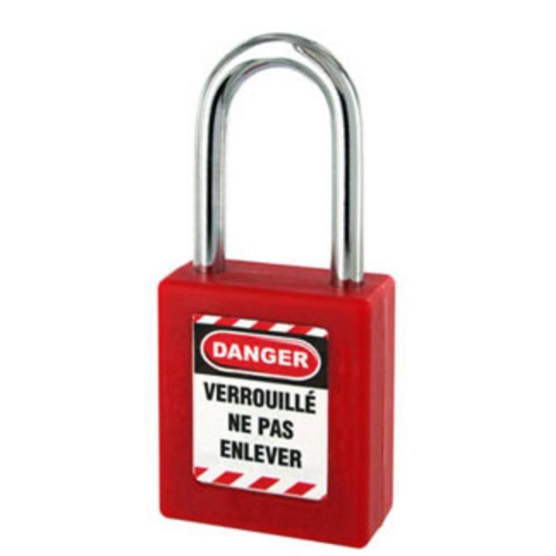 CADENAS CONSIGNATION ABS ROUGE ANSE ACIER D.6X76MM AVEC CLE