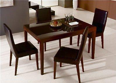 Fly bois wengue plateau verre marron table repas for Table extensible fly