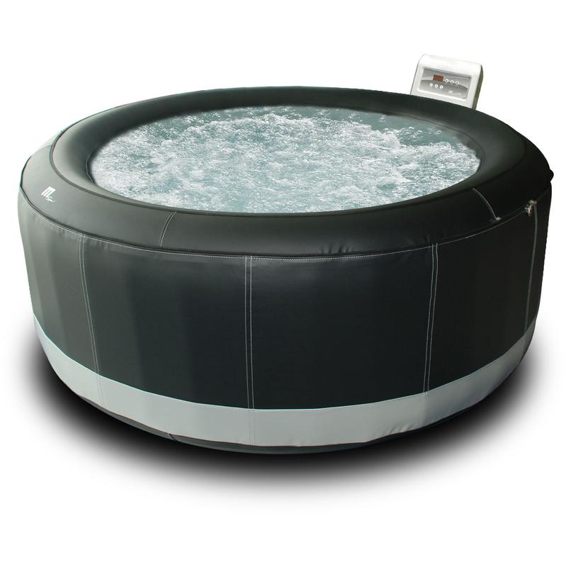 SPA ROND SIMILI-CUIR GONFLABLE SUPER CAMARO - 6 PLACES - NOIR - HAPPY GARDEN