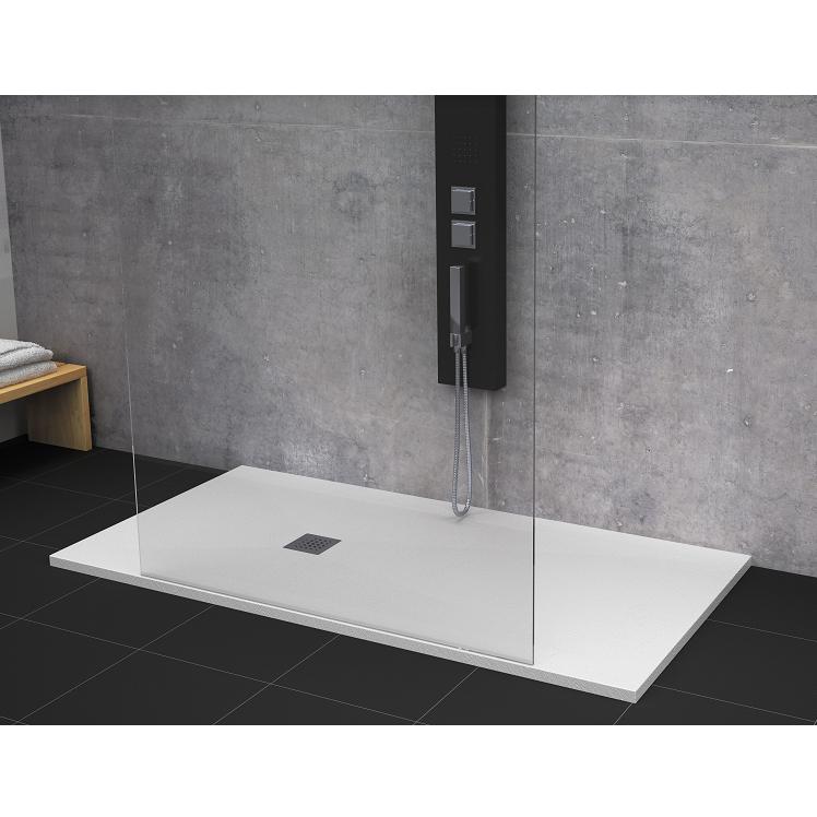 Receveur de douche 80 x 160 cm extra plat strato surface ardois e rectangulaire blanc comparer - Receveur de douche 160 x 80 ...