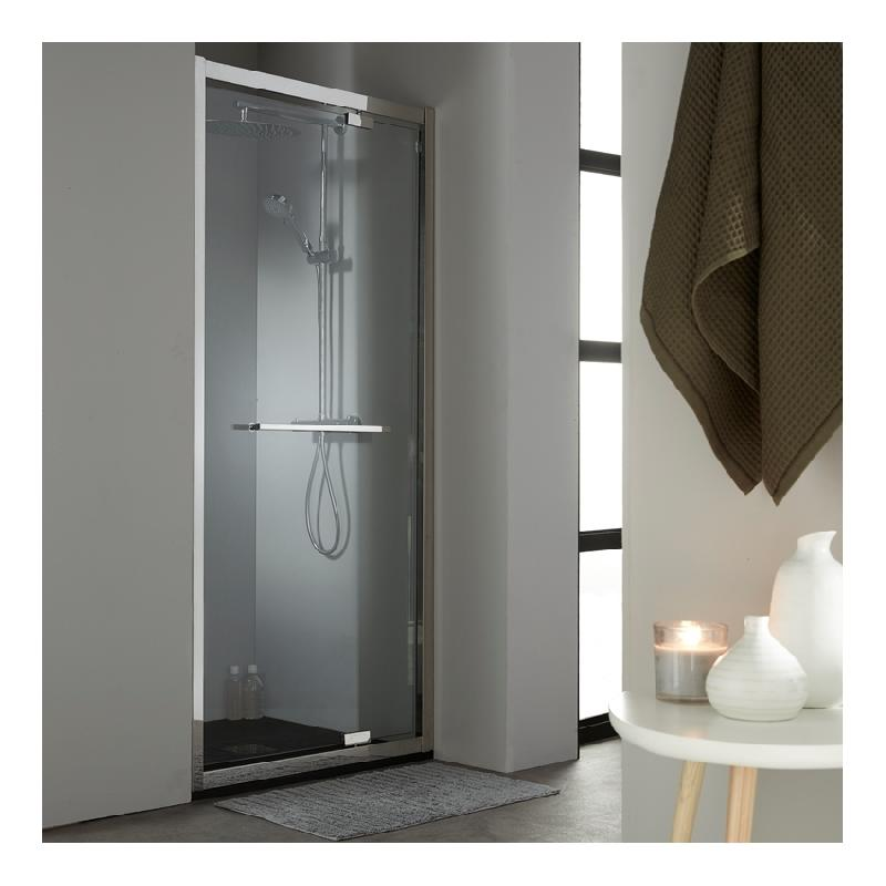 porte de douche pivotante 100 cm en inox chrom. Black Bedroom Furniture Sets. Home Design Ideas