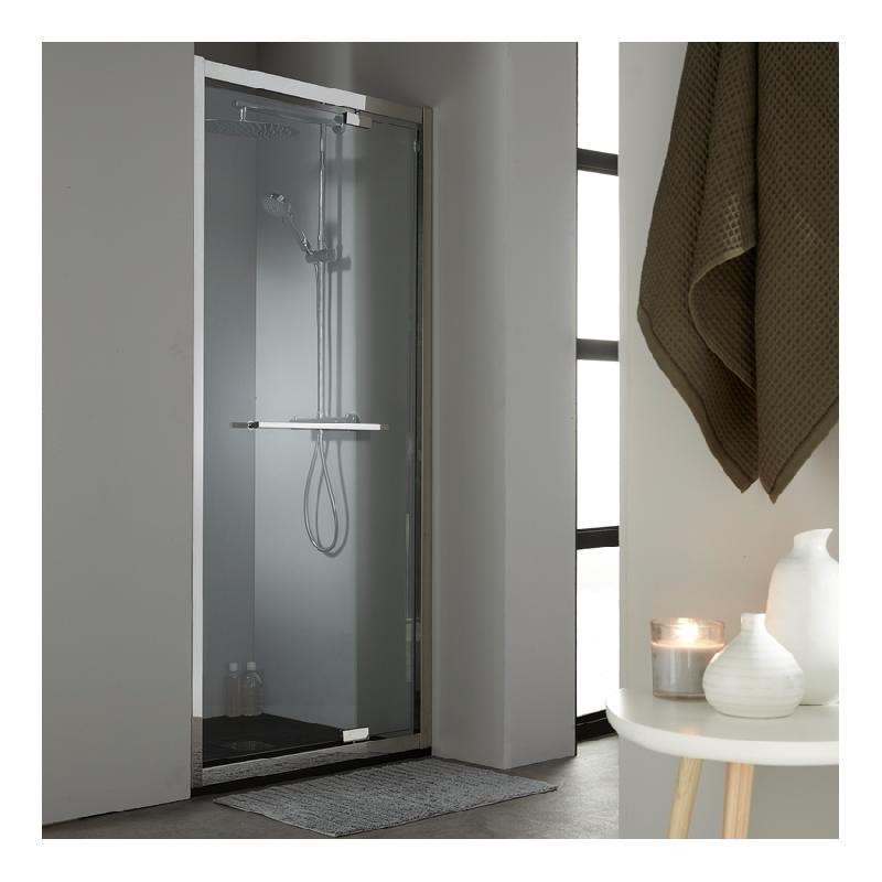 porte de douche pivotante 100 cm en inox chrom planetebain comparer les prix de porte de. Black Bedroom Furniture Sets. Home Design Ideas