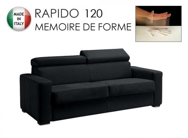 canape rapido sidney deluxe memory matelas 120 14 190 cm memoire de forme cuir vachette noir. Black Bedroom Furniture Sets. Home Design Ideas