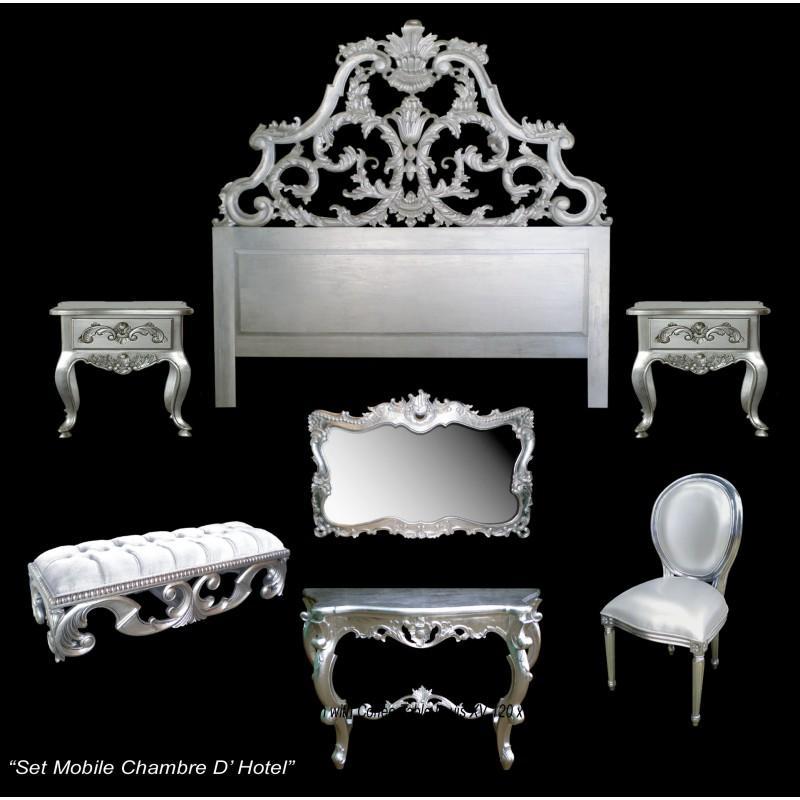 Chambre à coucher baroque argenté modèle carved