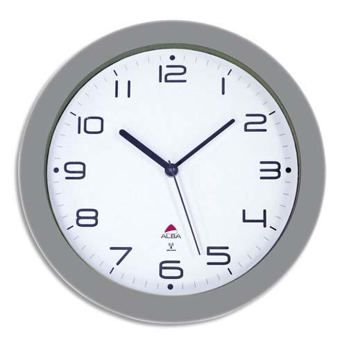 horloge murale radio pilot e hornewrc grise en m tal diam tre 30 cm comparer les prix de. Black Bedroom Furniture Sets. Home Design Ideas