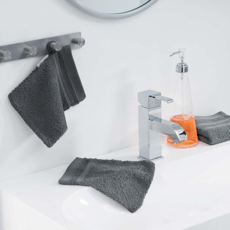 Lot de 2 gants de toilette vitamine 15x21cm anthracite - paris prix