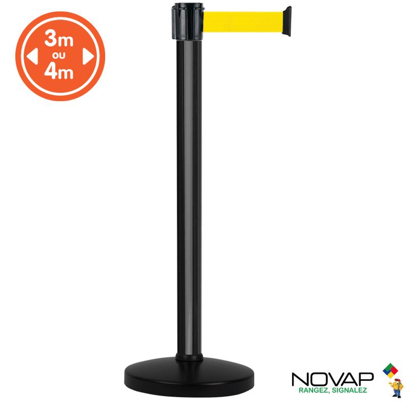 Poteau alu noir à sangle Jaune sur socle portable - Novap