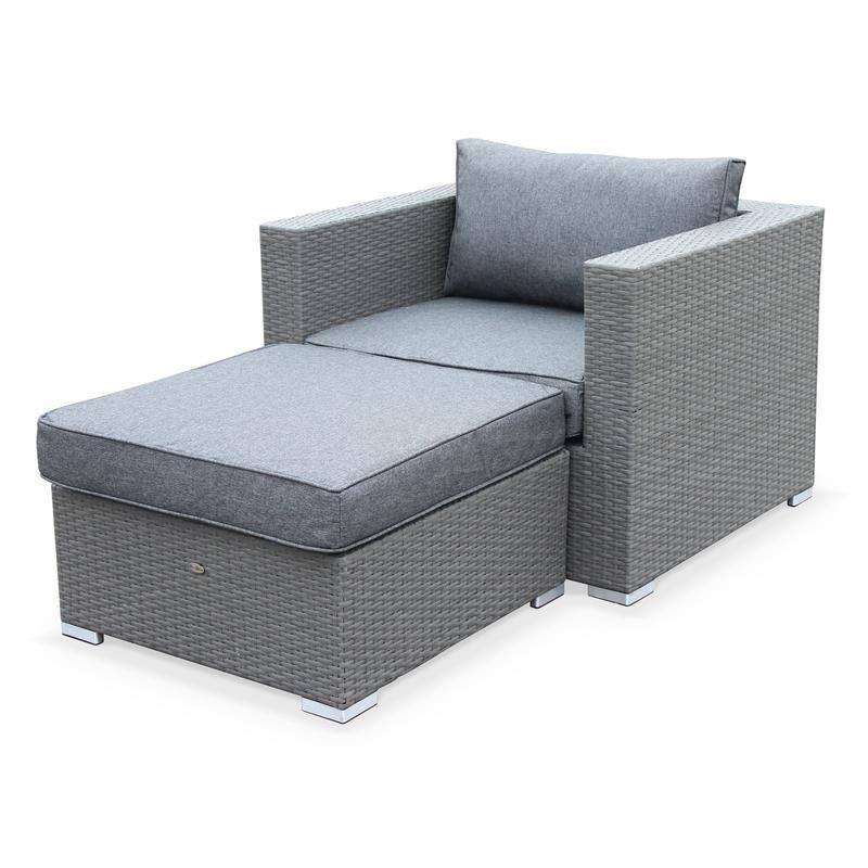 Salon de jardin genova fauteuil pouf en r sine tress e for Resine grise