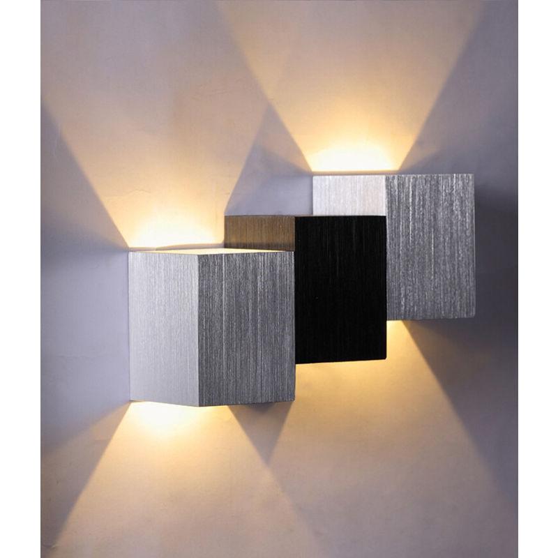 APPLIQUE MURALE 6W LED LAMPE MURALE EN ALU ECLAIRAGE INTERIEUR DECOR LUMIERE BLACHE CHAUDE - AXHUP