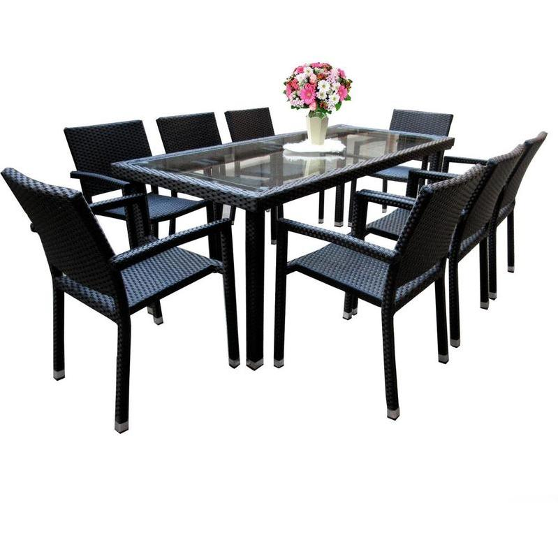 SALON DE JARDIN TABLE RECTANGLE AVEC 4 FAUTEUILS EMPILABLES - WOOD ...