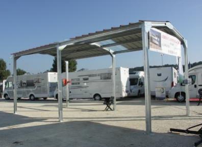 Abri camping-car ouvert Métal Double Pente / structure en fer / toiture à deux pans en acier / 3.89 x 3.10 m