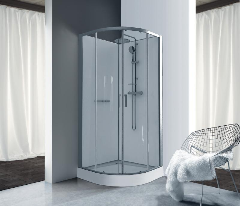 cabine de douche kara quart de rond 90 porte coulissante verre transparent avantage blanc ref. Black Bedroom Furniture Sets. Home Design Ideas