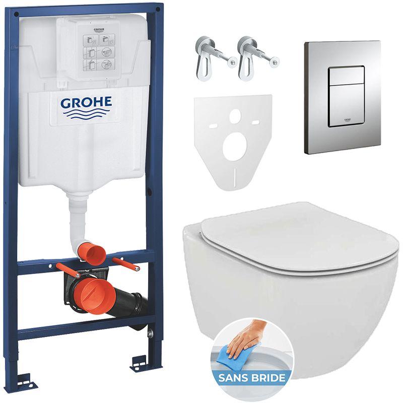 GROHE PACK WC RAPID SL GROHE + CUVETTE IDEAL STANDARD TESI AQUABLADE RIMLESS + PLAQUE DE COMMANDE GROHE SKATE CHROME (GROHEAQUA-SET)
