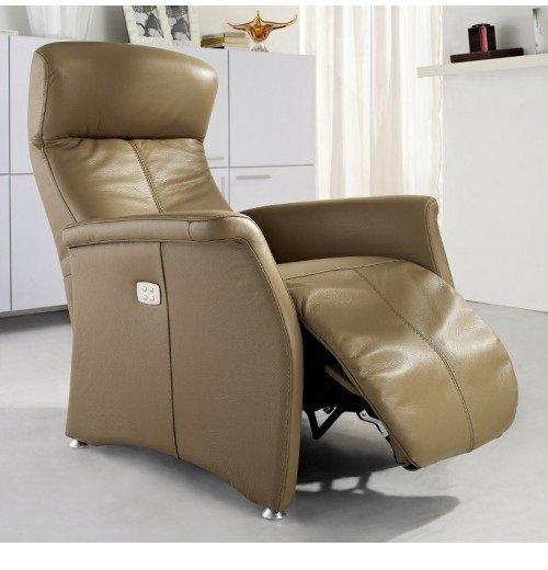kingston fauteuil relax electrique cuir vachette taupe. Black Bedroom Furniture Sets. Home Design Ideas