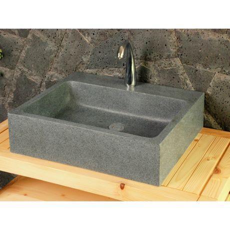 vasque poser en pierre granit gris alpha comparer les prix de vasque poser en pierre granit. Black Bedroom Furniture Sets. Home Design Ideas