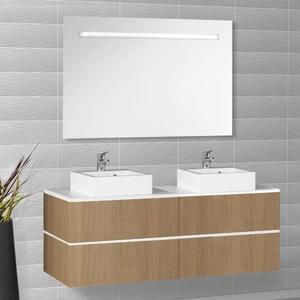 Creazur ensemble meuble salle de bain miroir 2 for Meuble sdb 2 vasques
