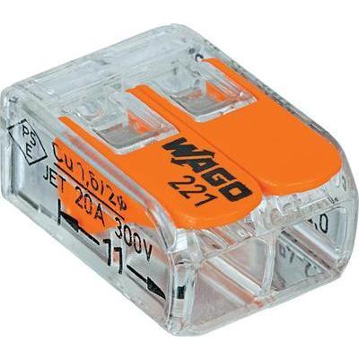 BORNE DE RACCORDEMENT WAGO 221-412 FLEXIBLE: 0.14-4 MM² RIGIDE: 0.2-4 MM² NOMBRE DE PÔLES: 2 TRANSPARENT, ORANGE 100 PC(