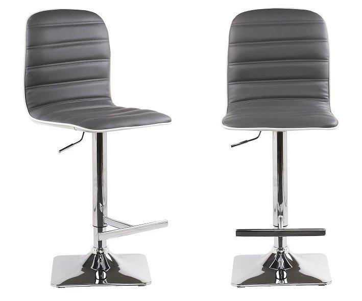 lot de 2 tabourets chaises de bar reglables dance similicuir gris. Black Bedroom Furniture Sets. Home Design Ideas