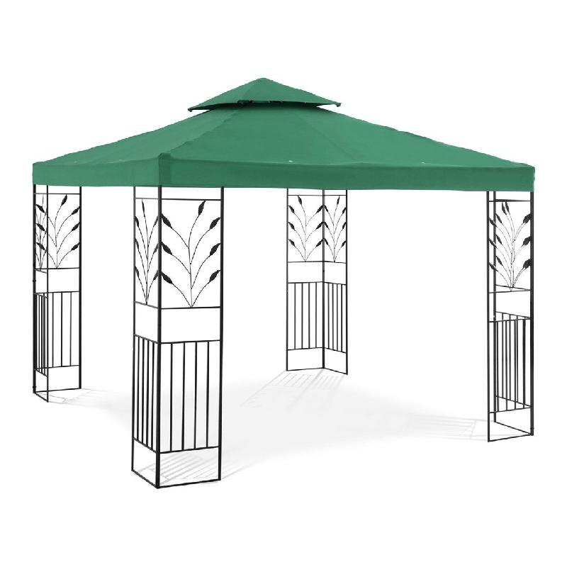 Pergola pavillon barnum tonnelle tente abri gazebo de jardin terrasse beige vert - 3 x 3 m - 180 g/m² 14_0002772
