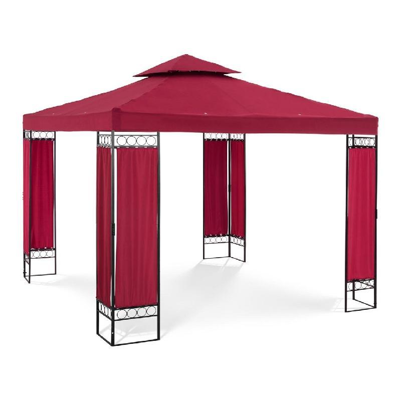 Pergola pavillon barnum tonnelle tente abri gazebo de jardin terrasse rouge bordeaux 3 x 3 m 160 g/m² 14_0002768