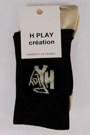 """Chaussettes homme """"série noire"""" fil blanc cassé logo h3 fil d'ecosse"""