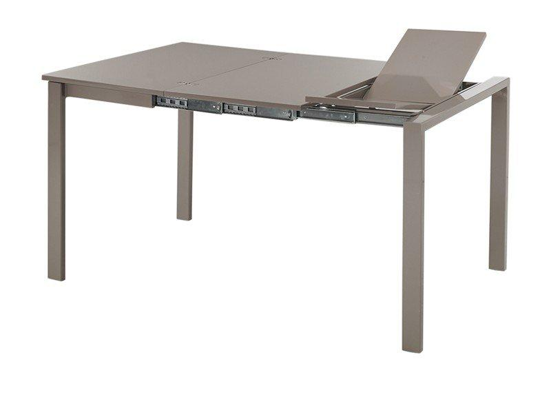 Console extensible evolutive en table repas laque taupe - Console extensible taupe ...