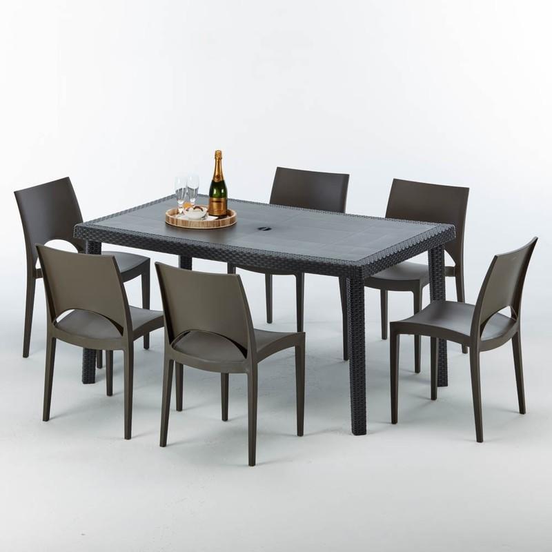 TABLE RECTANGULAIRE ET 6 CHAISES POLY ROTIN COLORÉES 150X90CM NOIR ENJOY | PARIS MARRON MOKA GRAND SOLEIL
