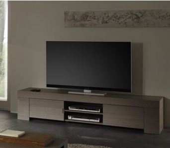 meuble tv hifi contemporain chene gris jamie. Black Bedroom Furniture Sets. Home Design Ideas