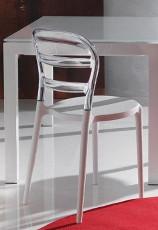 lot de 2 chaises design dejavu en plexiglas transparent et blanc. Black Bedroom Furniture Sets. Home Design Ideas