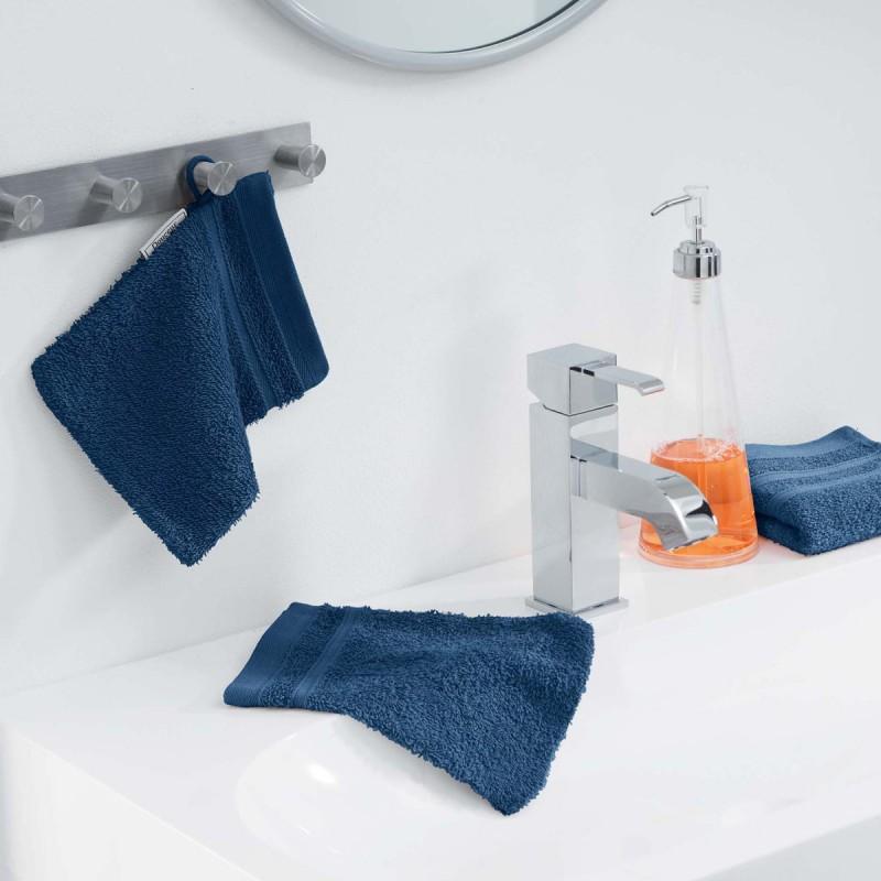 Lot de 2 gants de toilette vitamine 15x21cm bleu nuit - paris prix