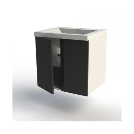 meuble bas 2 portes 60cm blanc fa ades ebene mon espace maison comparer les prix de meuble bas. Black Bedroom Furniture Sets. Home Design Ideas