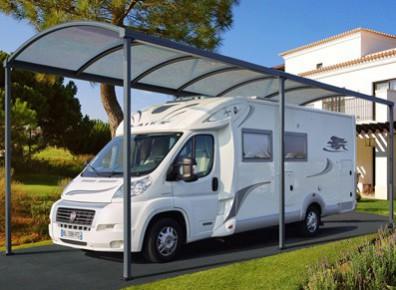 Abri camping-car ouvert métal aluminium design / structure en aluminium / toiture arrondie en polycarbonate