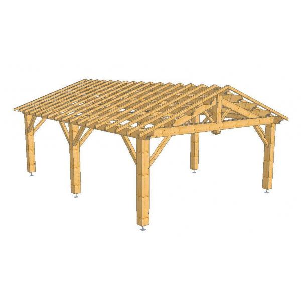 Abri camping car ouvert / structure en bois / toiture double pente