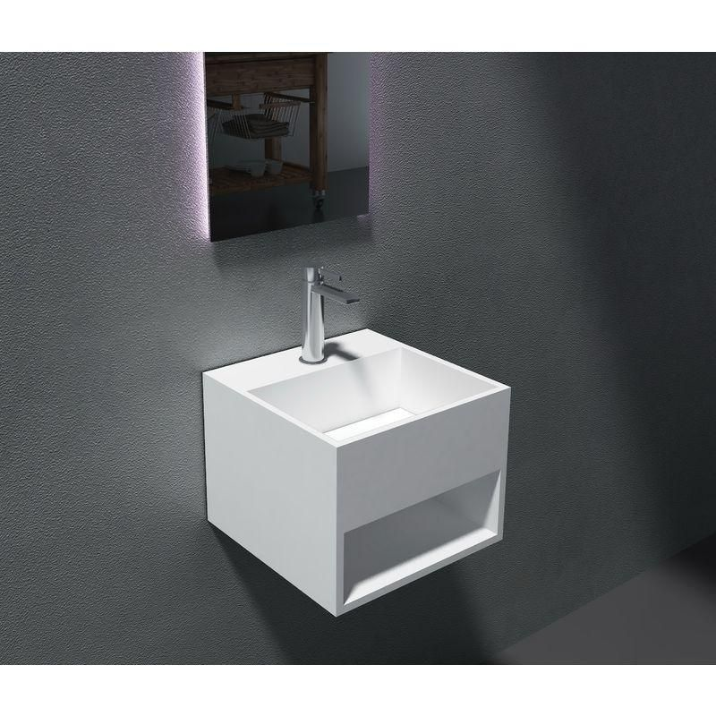 brillant Vasque /à poser PB2161 en solide surface Solid Stone Couvercle suppl/émentaire:Avec couvercle suppl/émentaire blanc - 60 x 42 x 16 cm en blanc mat ou haute billance Couleur:Blanc